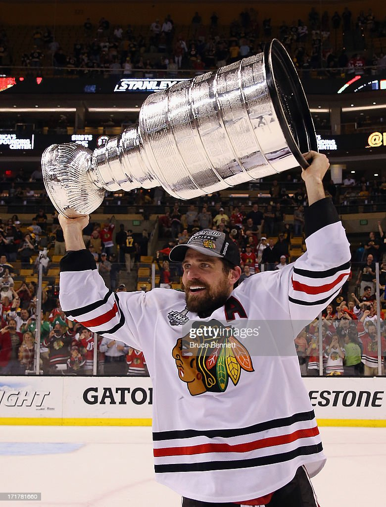 Patrick Sharp #10 of the Chicago Blackhawks celebrates with the Stanley Cup after Game Six of the 2013 NHL Stanley Cup Final at TD Garden on June 24, 2013 in Boston, Massachusetts. The Chicago Blackhawks defeated the Boston Bruins 3-2 to win the Stanley Cup.