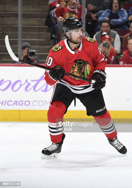 Patrick Sharp of the Chicago Blackhawks looks across the ice in the first period against the Anaheim Ducks at the United Center on November 27 2017...