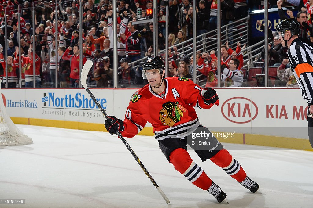 <a gi-track='captionPersonalityLinkClicked' href=/galleries/search?phrase=Patrick+Sharp&family=editorial&specificpeople=206279 ng-click='$event.stopPropagation()'>Patrick Sharp</a> #10 of the Chicago Blackhawks reacts after scoring in the shoot-out against the Florida Panthers during the NHL game at the United Center on February 24, 2015 in Chicago, Illinois.