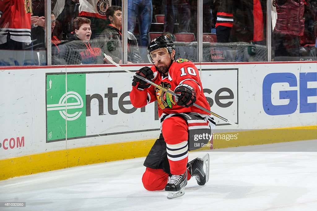 <a gi-track='captionPersonalityLinkClicked' href=/galleries/search?phrase=Patrick+Sharp&family=editorial&specificpeople=206279 ng-click='$event.stopPropagation()'>Patrick Sharp</a> #10 of the Chicago Blackhawks reacts after scoring the game winning goal in overtime against the Dallas Stars during the NHL game at the United Center on January 4, 2015 in Chicago, Illinois.