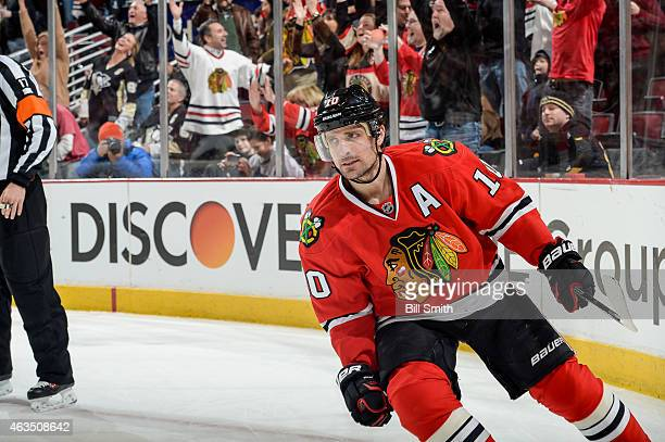 Patrick Sharp of the Chicago Blackhawks reacts after scoring the game winning goal against the Pittsburgh Penguins in the shootout to win the game 21...