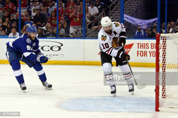 Patrick Sharp of the Chicago Blackhawks scores an empty net goal in the first period past Steven Stamkos of the Tampa Bay Lightning during Game Five...