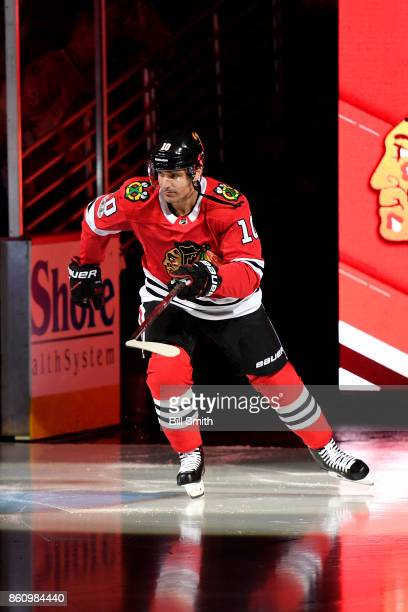 Patrick Sharp of the Chicago Blackhawks skates during the pregame ceremonies prior to the game against the Pittsburgh Penguins at the United Center...