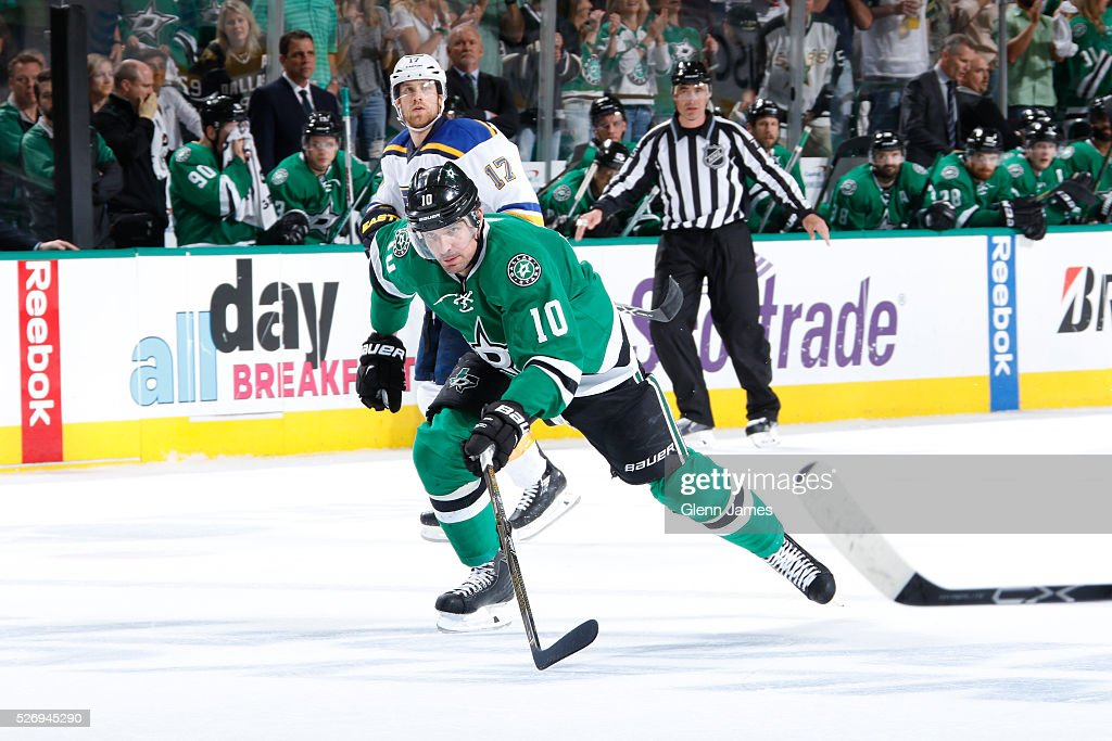 Patrick Sharp #10 of the Dallas Stars skates against the St. Louis Blues in Game Two of the Western Conference Second Round during the 2016 NHL Stanley Cup Playoffs at the American Airlines Center on May 1, 2016 in Dallas, Texas.