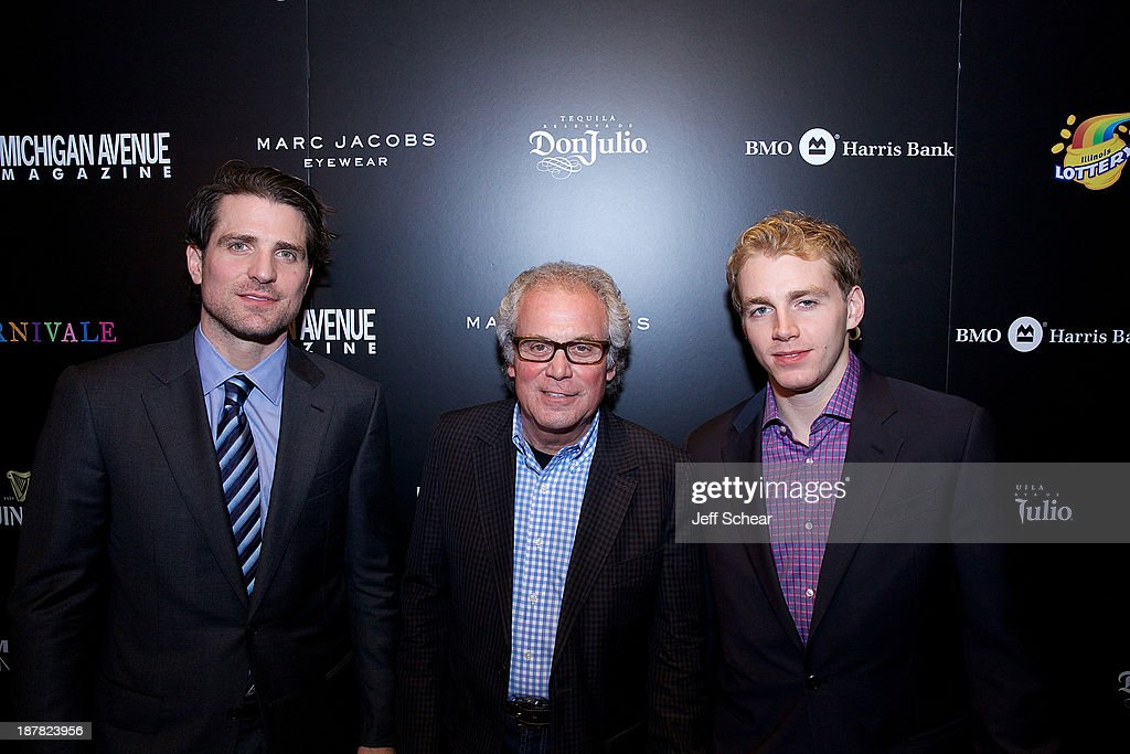 Patrick Sharp, Sam Madonia, and Patrick Kane attend Michigan Avenue Magazine November Cover Celebration Hosted By Chicago Blackhawks' Patrick Sharp & Patrick Kane at Carnivale on November 12, 2013 in Chicago, Illinois.