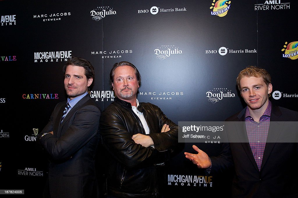 Patrick Sharp, Tim Smithe, and Patrick Kane attend Michigan Avenue Magazine November Cover Celebration Hosted By Chicago Blackhawks' Patrick Sharp & Patrick Kane at Carnivale on November 12, 2013 in Chicago, Illinois.
