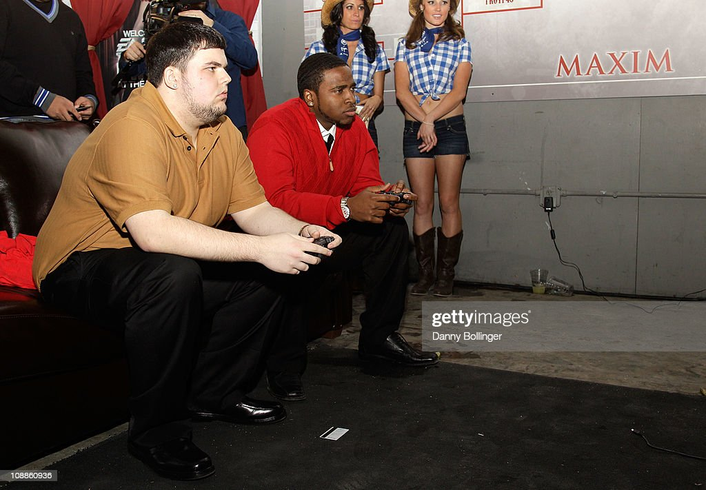 Patrick Shaw and Carlos Yancy attend Virgin Gaming at the Maxim Party Powered by Xoom at Centennial Hall at Fair Park on February 5, 2011 in Dallas, Texas.