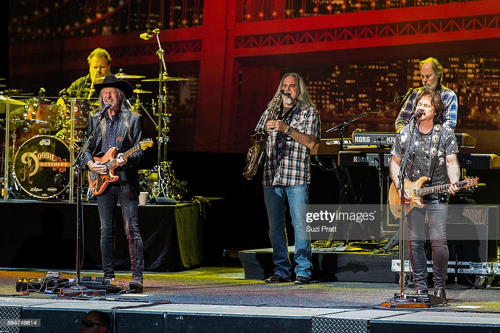 Patrick Simmons Marc Russo and Tom Johnson of The Doobie Brothers at White River Amphitheatre on August 23 2016 in Auburn Washington