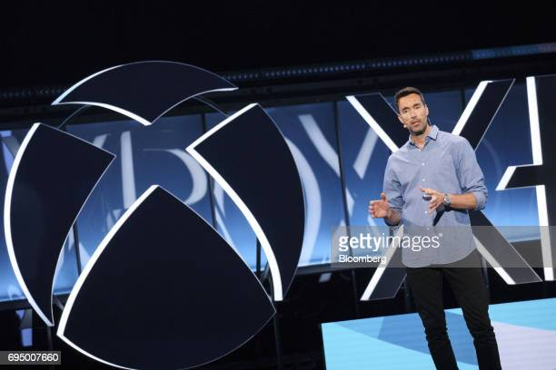 Patrick Soderlund executive vice president of Electronic Arts Inc speaks during the Microsoft Corp Xbox One X reveal event ahead of the E3 Electronic...