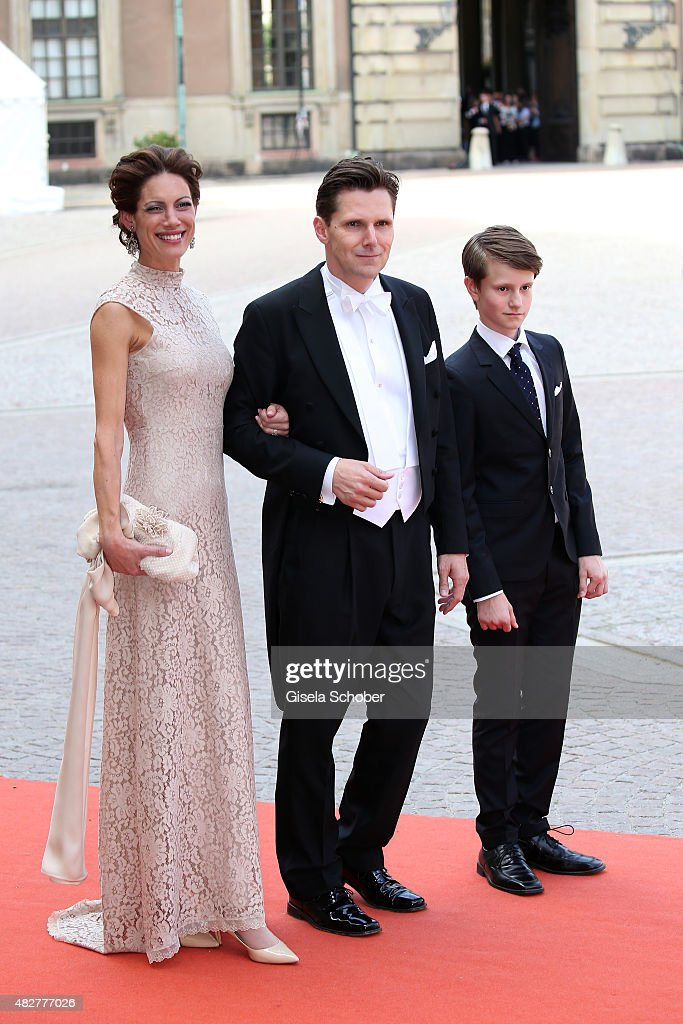 Patrick Sommerlath (Nephew of Queen Silvia of Schweden ) with his wife Maline and their son Leopold attend the royal wedding of Prince Carl Philip of Sweden and Sofia Hellqvist at The Royal Palace on June 13, 2015 in Stockholm, Sweden.