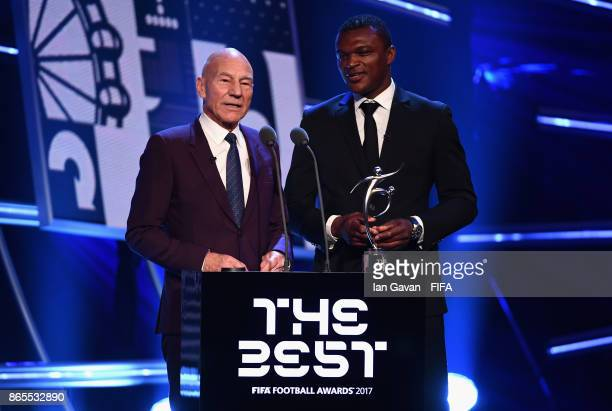 Patrick Stewart and Marcel Desailly present the The FIFA Fair Play Award during The Best FIFA Football Awards at The London Palladium on October 23...