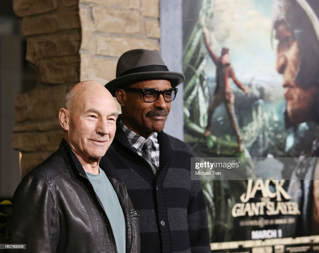 <a gi-track='captionPersonalityLinkClicked' href=/galleries/search?phrase=Patrick+Stewart&family=editorial&specificpeople=203271 ng-click='$event.stopPropagation()'>Patrick Stewart</a> (L) and <a gi-track='captionPersonalityLinkClicked' href=/galleries/search?phrase=Michael+Dorn&family=editorial&specificpeople=1493282 ng-click='$event.stopPropagation()'>Michael Dorn</a> arrive at the Los Angeles premiere of 'Jack The Giant Slayer' held at TCL Chinese Theatre on February 26, 2013 in Hollywood, California.