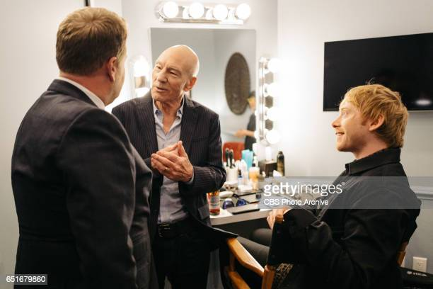 Patrick Stewart and Rupert Grint chat in the green room with James Corden during 'The Late Late Show with James Corden' Monday March 6 2017 On The...