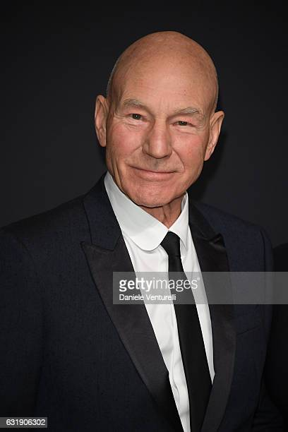 Patrick Stewart arrive at IWC Schaffhausen at SIHH 2017 'Decoding the Beauty of Time' Gala Dinner on January 17 2017 in Geneva Switzerland