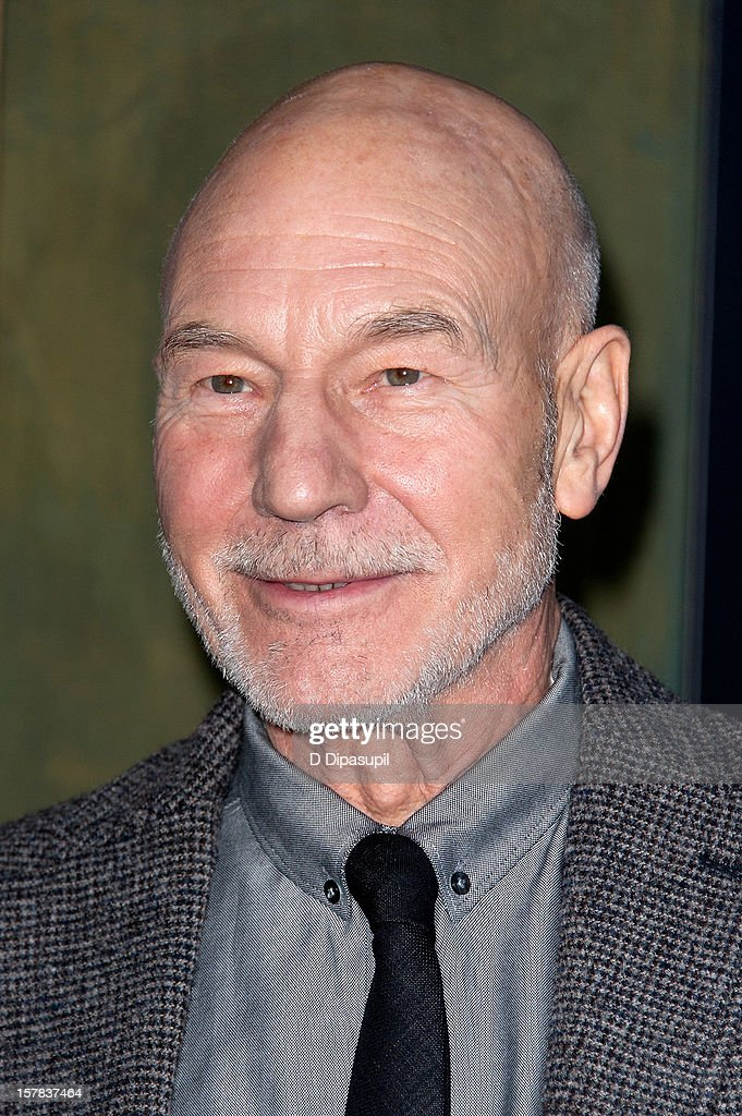 Patrick Stewart attends 'The Hobbit: Unexpected Journey' premiere at the Ziegfeld Theater on December 6, 2012 in New York City.