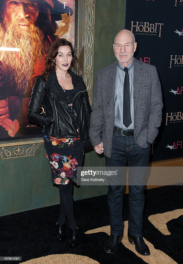 Patrick Stewart (R) attends 'The Hobbit: Unexpected Journey' premiere at the Ziegfeld Theater on December 6, 2012 in New York City.