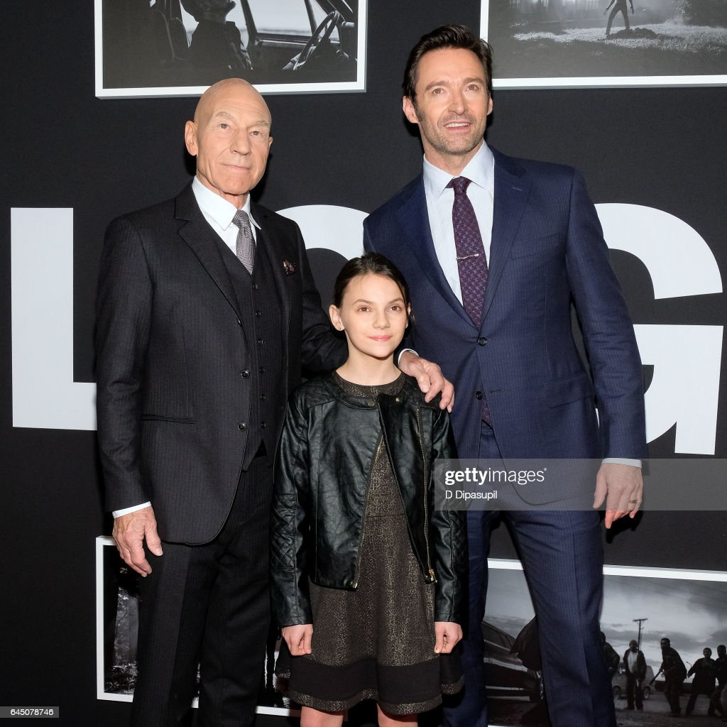 Patrick Stewart, Dafne Keen, and Hugh Jackman attend the 'Logan' New York screening at Rose Theater, Jazz at Lincoln Center on February 24, 2017 in New York City.