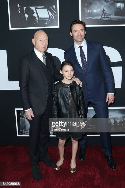 Patrick Stewart Dafne Keen and Hugh Jackman attends the New York screening of 'Logan' at the Rose Theater Jazz at Lincoln Center on February 24 2017...
