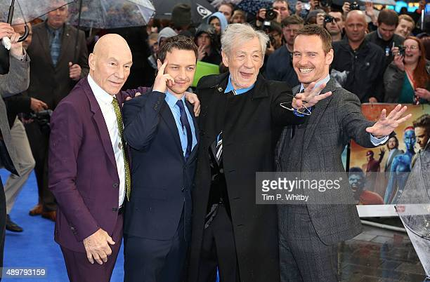 Patrick Stewart James McAvoy Sir Ian McKellen and Michael Fassbender attend the UK Premiere of 'XMen Days of Future Past' at Odeon Leicester Square...