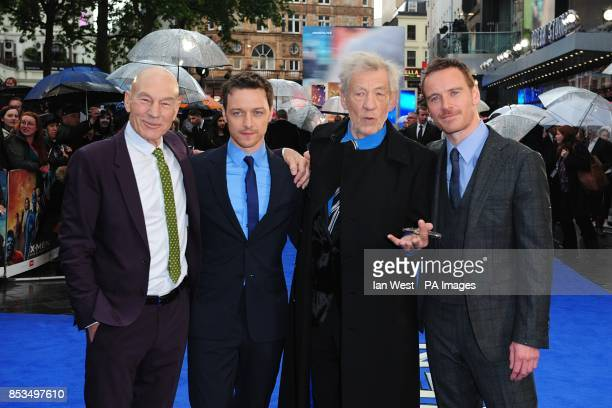 Patrick Stewart James McAvoy Sir Ian McKellen and Michael Fassbender arriving at the XMen Days of Future Past UK premiere at The West End Odeon...