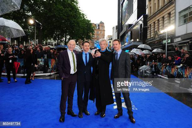 Patrick Stewart James McAvoy Sir Ian McKellen and Michael Fassbender arriving at the XMen Days of Future Past UK premieree at The West End Odeon...