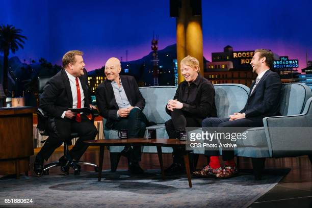 Patrick Stewart Rupert Grint and Dan Stevens chat with James Corden during 'The Late Late Show with James Corden' Monday March 6 2017 On The CBS...