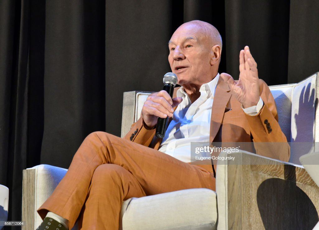 Patrick Stewart speaks on stage during A Conversation With… Patrick Stewart at East Hampton Middle School during Hamptons International Film Festival 2017 - Day Three on October 7, 2017 in East Hampton, New York.