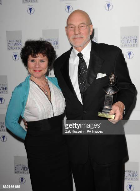 Patrick Stewart wins the Best Performance in a Supporting Role presented by Imelda Staunton during the Laurence Olivier Awards at the Grosvenor Hotel...