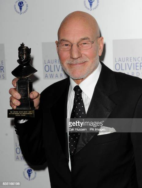 Patrick Stewart wins the Best Performance in a Supporting Role for Hamlet at the Novello during the Laurence Olivier Awards at the Grosvenor Hotel in...