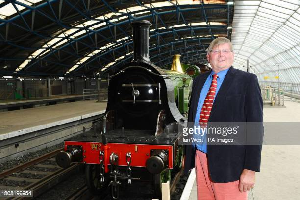 Patrick Stirling with the Stirling Single express passenger train which was designed by his great great grandfather Patrick at the Old Eurostar...