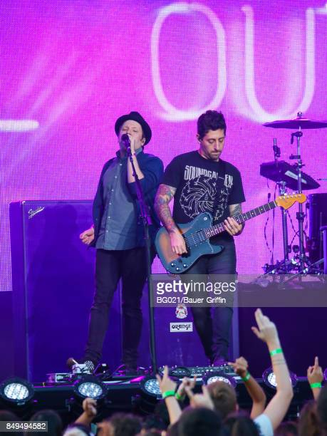 Patrick Stump and Joe Trohman of music band 'Fall Out Boy' are seen performing at 'Jimmy Kimmel Live' on September 18 2017 in Los Angeles California