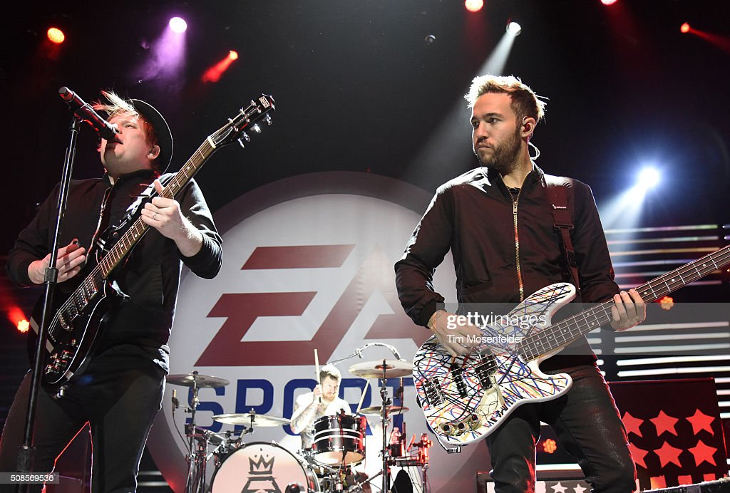 Patrick Stump and Pete Wentz of Fall Out Boy perform during the EA SPORTS MADDEN NFL Madden Bowl XXII at Nob Hill Masonic Center on February 4 2016...