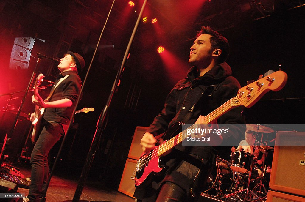 Patrick Stump and Pete Wentz of Fall Out Boy performs on stage at O2 Islington Academy on November 5, 2013 in London, United Kingdom.