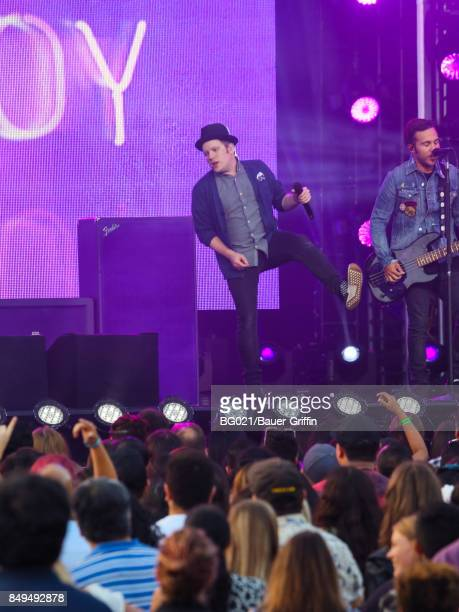 Patrick Stump and Pete Wentz of music band 'Fall Out Boy' are seen performing at 'Jimmy Kimmel Live' on September 18 2017 in Los Angeles California