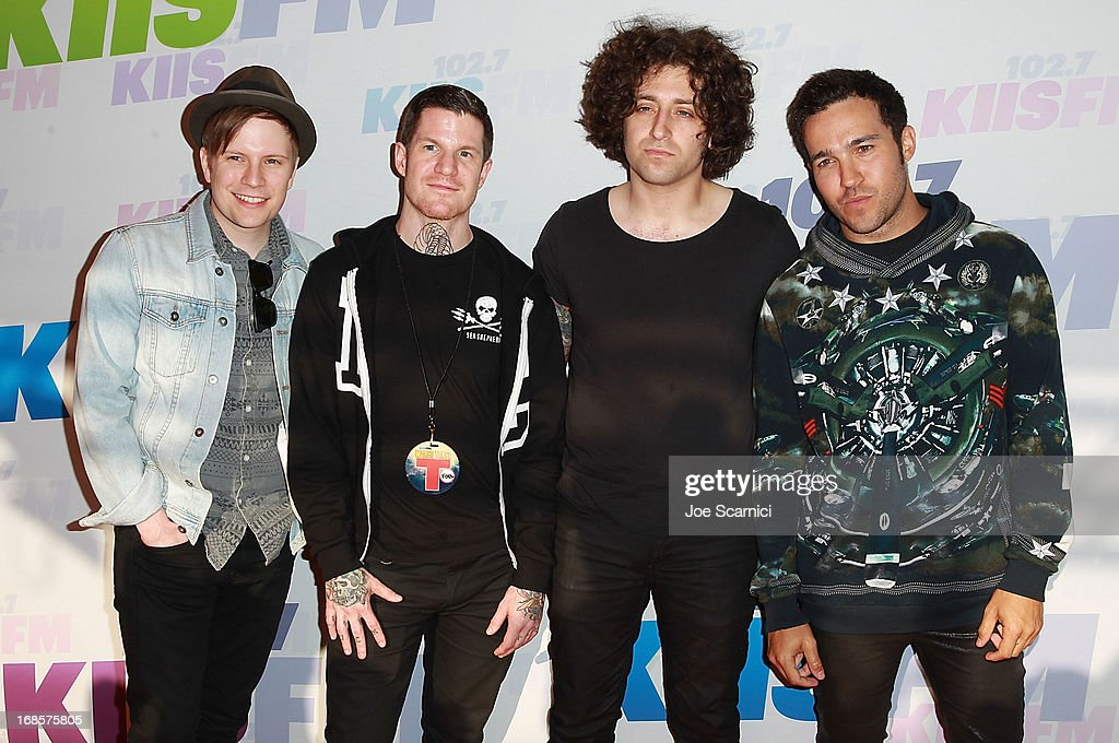 <a gi-track='captionPersonalityLinkClicked' href=/galleries/search?phrase=Patrick+Stump&family=editorial&specificpeople=557078 ng-click='$event.stopPropagation()'>Patrick Stump</a>, Andy Hurley, <a gi-track='captionPersonalityLinkClicked' href=/galleries/search?phrase=Joe+Trohman&family=editorial&specificpeople=557077 ng-click='$event.stopPropagation()'>Joe Trohman</a> and <a gi-track='captionPersonalityLinkClicked' href=/galleries/search?phrase=Pete+Wentz&family=editorial&specificpeople=595892 ng-click='$event.stopPropagation()'>Pete Wentz</a> of Fall Out Boy arrive at 102.7 KIIS FM's Wango Tango 2013 at The Home Depot Center on May 11, 2013 in Carson, California.