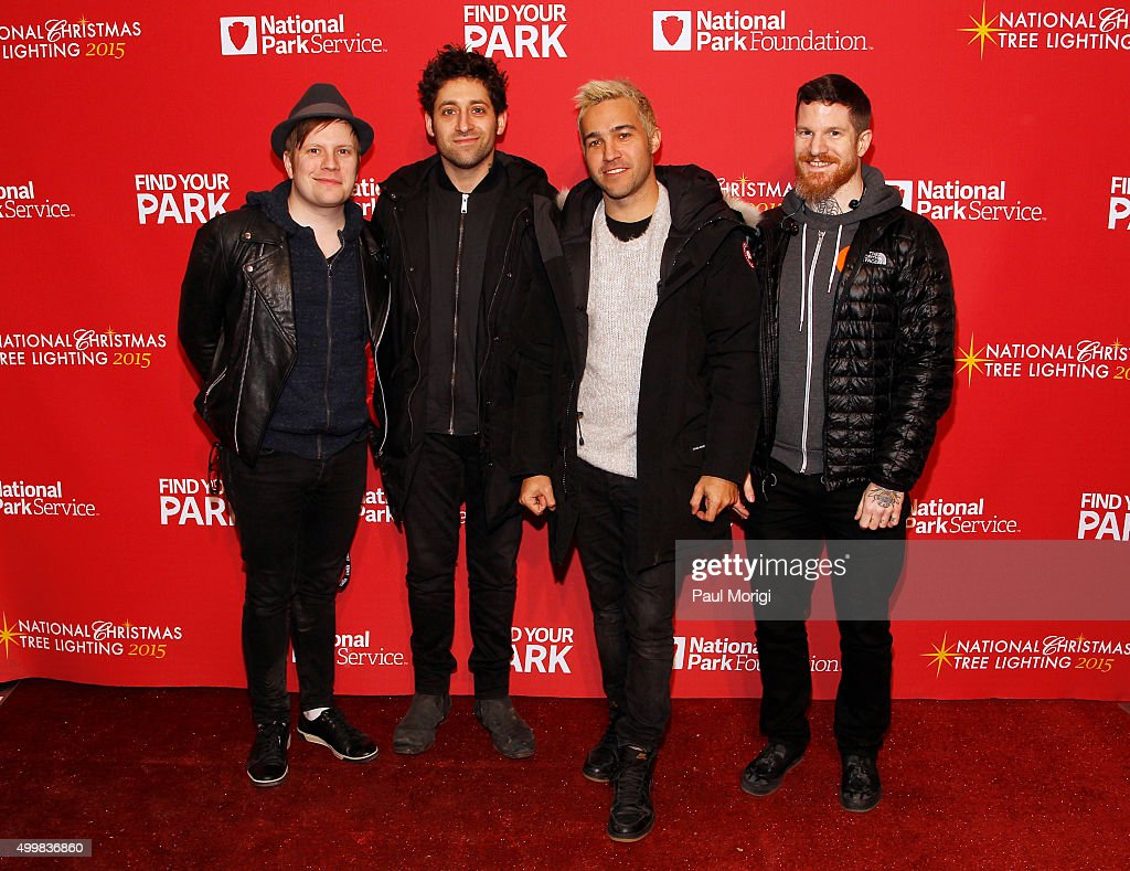Patrick Stump, Joe Trohman, Pete Wentz and Andy Hurley of Fall Out Boy attend the 93rd Annual National Christmas Tree Lighting at The Ellipse on December 3, 2015 in Washington, DC.