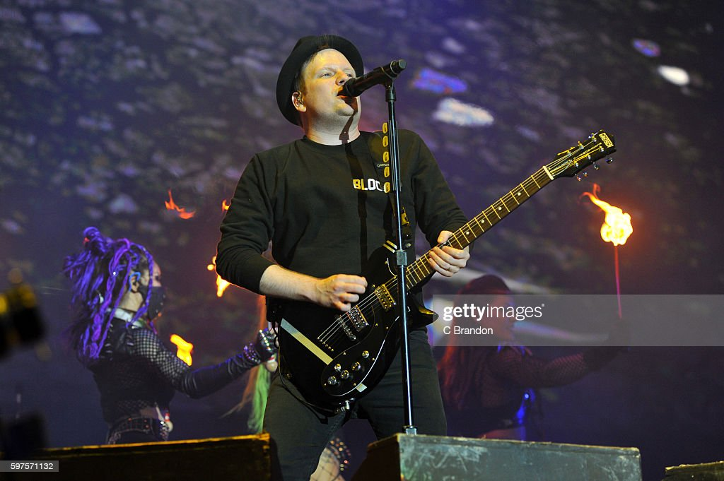 Patrick Stump of Fall Out Boy performs on stage during Day 3 of the Reading Festival at Richfield Avenue on August 28 2016 in Reading England
