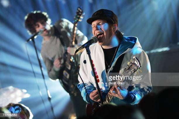 Patrick Stump of Fall Out Boy performs onstage during MTV's Total Request Live as part of 'Infinity Flight 206 With Fall Out Boy' a 24 hour...