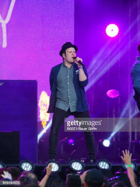 Patrick Stump of music band 'Fall Out Boy' is seen performing at 'Jimmy Kimmel Live' on September 18 2017 in Los Angeles California