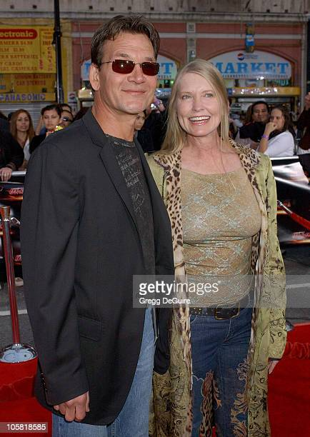 Patrick Swayze and wife Lisa during 'Mission Impossible III' Fan Screening Arrivals at Grauman's Chinese Theatre in Beverly Hills California United...