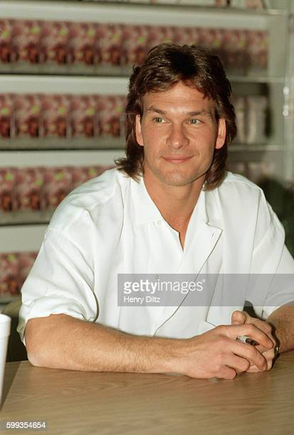 Patrick Swayze at a promotion of the soundtrack to the film Dirty Dancing a film in which he starred Swayze also performed one tune on the soundtrack...