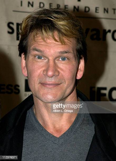 Patrick Swayze during The 18th Annual IFP Independent Spirit Awards Press Room at Press Tent Santa Monica Beach in Santa Monica California United...