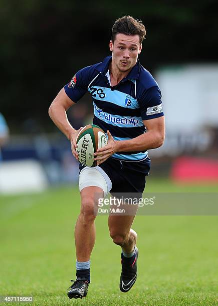 Patrick Taplen of Bedford Blues makes a break during the British Irish Cup match between Cornish Pirates and Bedford Blues at Mennaye Field on...