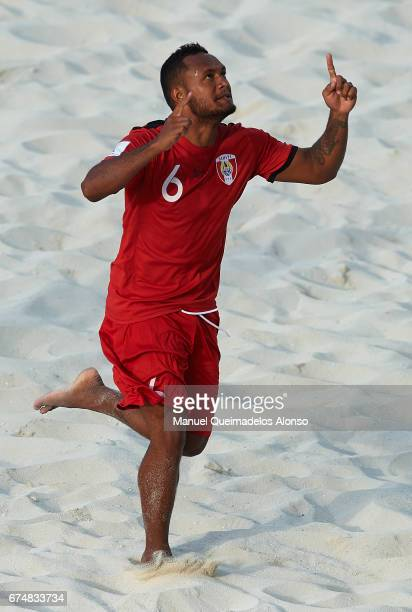 Patrick Tepa of Tahiti celebrates scoring his team's first goal during the FIFA Beach Soccer World Cup Bahamas 2017 group D match between Brazil and...