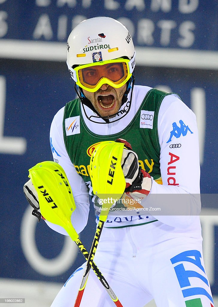 <a gi-track='captionPersonalityLinkClicked' href=/galleries/search?phrase=Patrick+Thaler&family=editorial&specificpeople=807782 ng-click='$event.stopPropagation()'>Patrick Thaler</a> of Italy celebrates during the Audi FIS Alpine Ski World Cup Men's Slalom on November 11, 2012 in Levi, Finland.