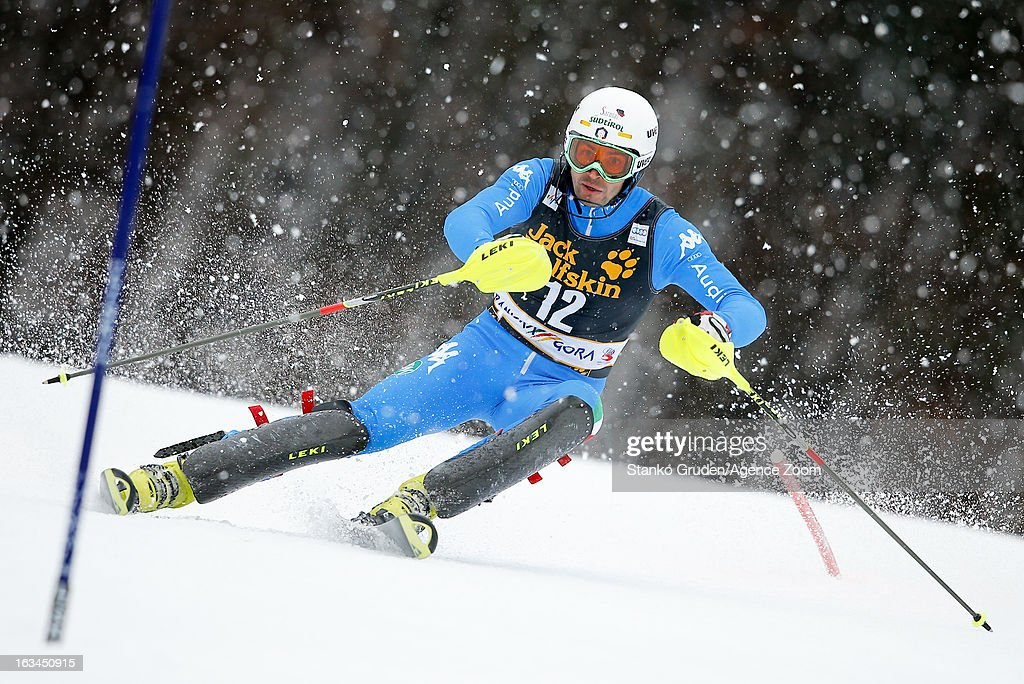 Patrick Thaler of Italy competes during the Audi FIS Alpine Ski World Cup Men's Slalom on March 10, 2013 in Kranjska Gora, Slovenia.
