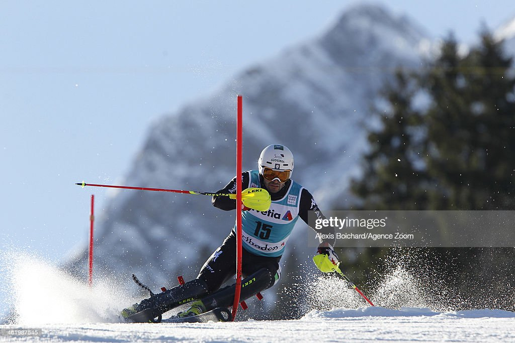 <a gi-track='captionPersonalityLinkClicked' href=/galleries/search?phrase=Patrick+Thaler&family=editorial&specificpeople=807782 ng-click='$event.stopPropagation()'>Patrick Thaler</a> of Italy competes during the Audi FIS Alpine Ski World Cup Men's Slalom on January 12, 2014 in Adelboden, Switzerland.