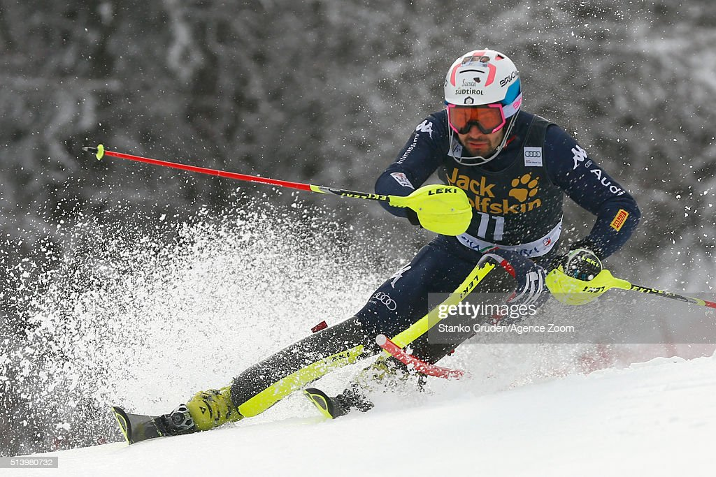 <a gi-track='captionPersonalityLinkClicked' href=/galleries/search?phrase=Patrick+Thaler&family=editorial&specificpeople=807782 ng-click='$event.stopPropagation()'>Patrick Thaler</a> of Italy competes during the Audi FIS Alpine Ski World Cup Men's Slalom on March 06, 2016 in Kranjska Gora, Slovenia.