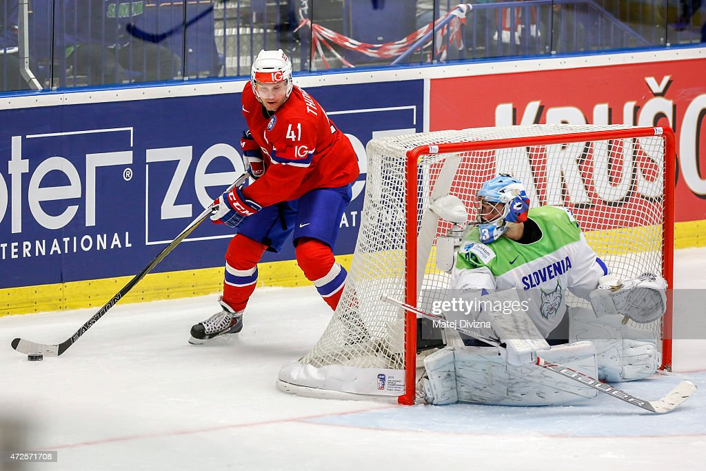 <a gi-track='captionPersonalityLinkClicked' href=/galleries/search?phrase=Patrick+Thoresen&family=editorial&specificpeople=637009 ng-click='$event.stopPropagation()'>Patrick Thoresen</a> (L) of Norway in action during the IIHF World Championship group B match between Slovenia and Norway at CEZ Arena on May 8, 2015 in Ostrava, Czech Republic.