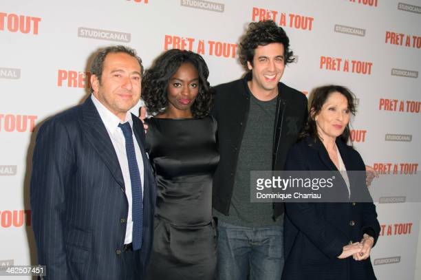 Patrick Timsit Aissa Maiga Max Boublil and Chantal Lauby attend the 'Pret A Tout' Paris Premiere at Cinema Gaumont Marignan on January 13 2014 in...